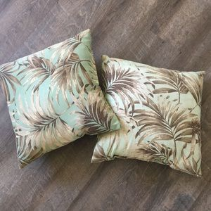 Two palm tree outdoor pillows